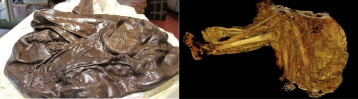 Photos via the BBC, both of Cashel Man.  The photo to the right is a CT scan of the remains to the left.