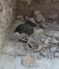 Via Phys.org.  Skeleton from Mayan mass grave.
