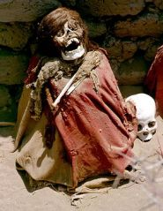 From Wikipedia.  Photo of a mummy from Chauchilla Cemetery.