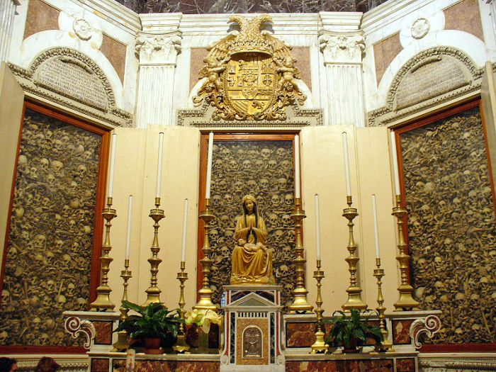 From Wikipedia Commons of the bones of 800 martyrs on display at the Otranto Cathedral