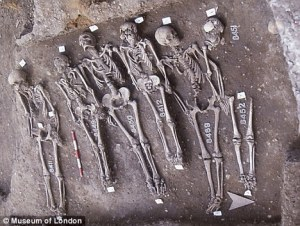 Photo via the DailyMail of graves excavated at East Smithfield's plague cemetery