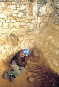 Photo via the Museum of London Archaeology of the Spitalfields Charnel House.