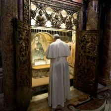 "Photo via The Catholic Register for Pope ""Frank"" praying at the tomb of St. Peter inside St. Peter's Basilica at the Vatican"