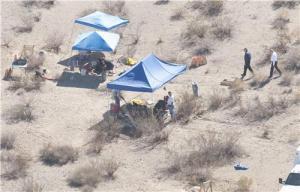 Photo via the San Bernardino Sun of the site of the mass grave in California