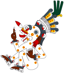 Picture via of Wikipedia of Mictlantecuhtli from the Codex Borgia