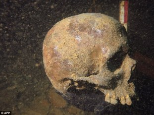 Photo via Spiegel Online of one of the skulls found in the Nazi U-boat.