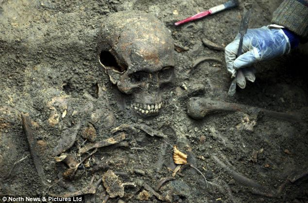 Photo from the North News &; Pictures via The Daily Mail; of the human remains uncovered near the Durham Cathedral.