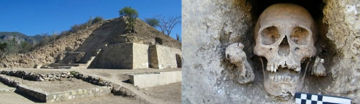 Photo via The Herald.  The Temple of the Skulls pictured on the left; one of the skull niches pictured on the right.