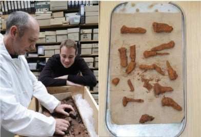 Photo on the left via Birmingham Mail of archaeologists sifting through coffin's contents; Photo on the right via Mail Online of the nails discovered with the coffin