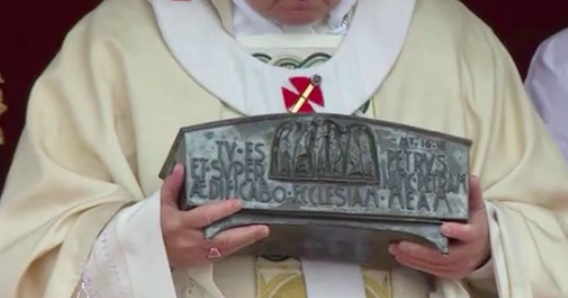 Picture via CTV of Pope Francis holding the relics of St. Peter