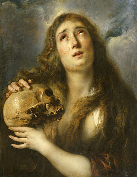 Painting of Mary Magdalene, meditating on a skull by Jan Boeckhorst. Image Credit: Wikipedia