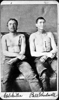 Post mortem photographs of Clel Miller (left) and Bill Chadwell (right), killed in Northfield Bank Robbery