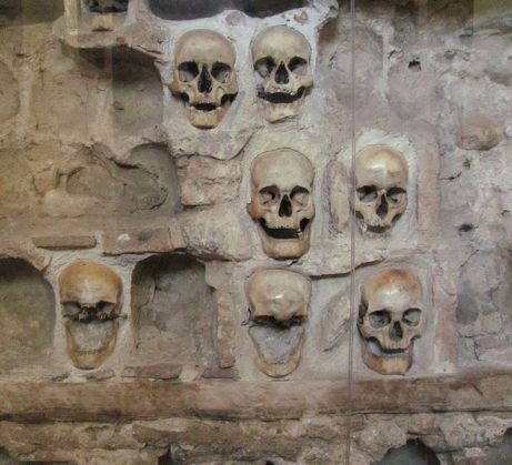 Close up of the Skull Tower in Serbia.  Photo from Wikipedia via Creative Commons