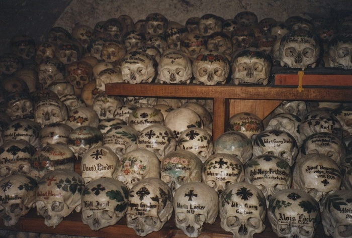 Painted skulls of the Hallstatt Beinhaus.  Photo from Flickr via Creative Commons