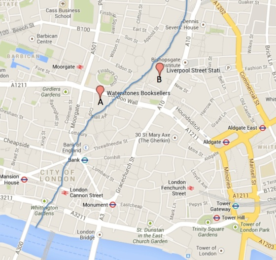 Point A shows where the skulls were recovered in 1988.  Point B shows where the skulls were recovered in September.  The blue line is an approximation of where the Walbrook steam is.