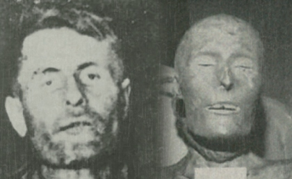Left: Elmer McCurdy before embalming.  Right: Elmer McCurdy's mummy.  Photo credit: Altas Obscura