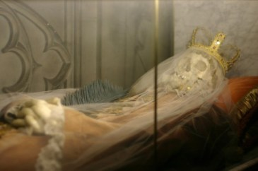 The skeletal remains of Saint Bonosa before their reinterment