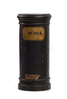 Wooden container containing mumia, the powdered remains of Egyptian mummies. Photo from Wikipedia.