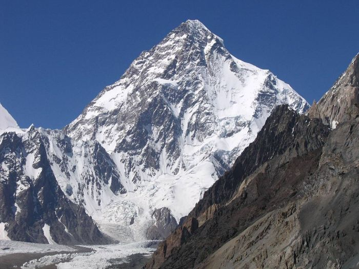 The summit of K2 is in the death zone. Image credit: Svy123 on Wikipedia