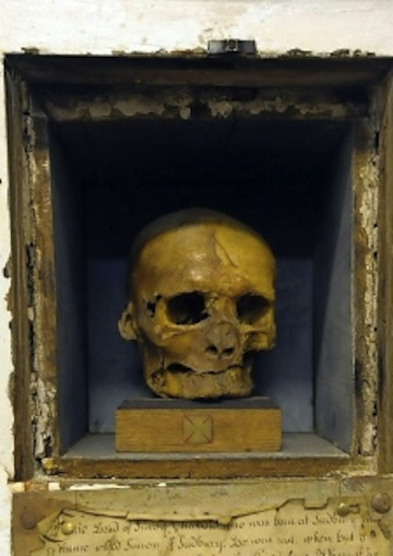 The skull of Simon of Sudbury.