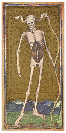 Death card from the Visconti-Sforza tarot deck, 15th century. Via Wikipedia.