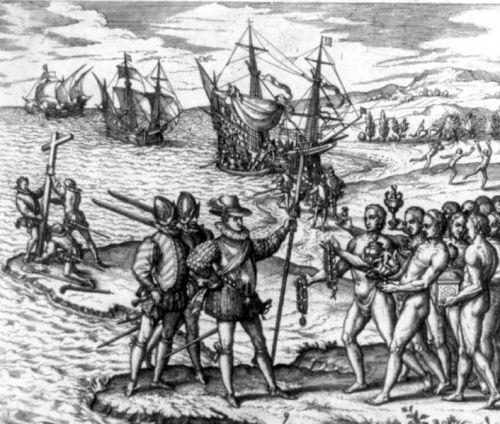 Columbus landing on Hispaniola.  Image credit: Wikipedia