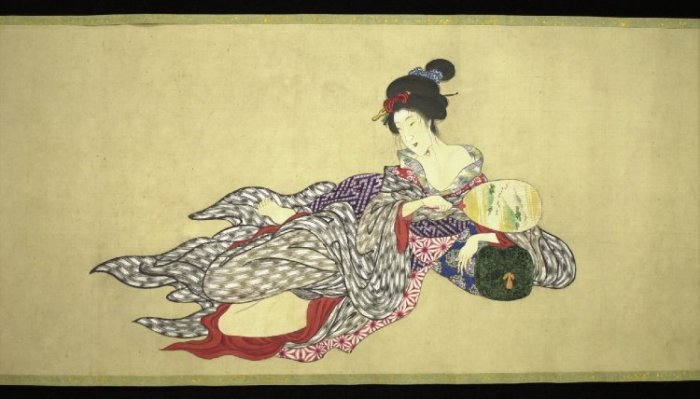 Painting, handscroll. Body of a courtesan in nine stages of decomposition. Ink and colour on silk. Image credit: The British Museum