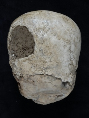 "Back of the Jericho ""skull"" showing the circular hole.  Image credit: British Museum"