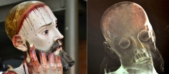 Left: 'Lord of Patience' statue displayed at a church in San Bartolo Cuautlalpan RIght: X-ray of Statue showing the 8 real human teeth