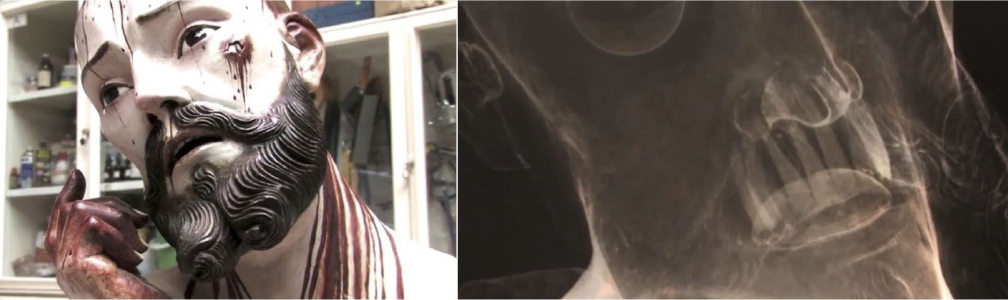 Left: 'Lord of Patience' statue displayed at a church in San Bartolo Cuautlalpan RIght: X-ray of Statue showing the 8 real human teeth. Images Credit: INAH TV on YouTube