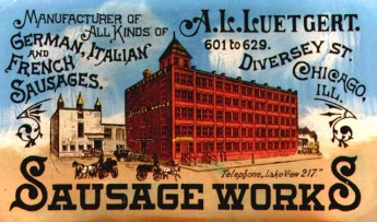 A picture of the A.L. Sausage & Packing Company featured inside a company paperweight. Image Credit: Alchemy of Bones