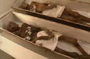 Phlippi Mummies on displayed at the Barbour County Historical Society in West Virginia.  Image Credit: Screen grab from West Virginia Public Broadcasting