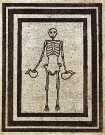Skeleton carrying pitchers, mosaic from Pompeii; now in the Museo Archeologico Nazionale (Naples) Image Credit: Wikimedia