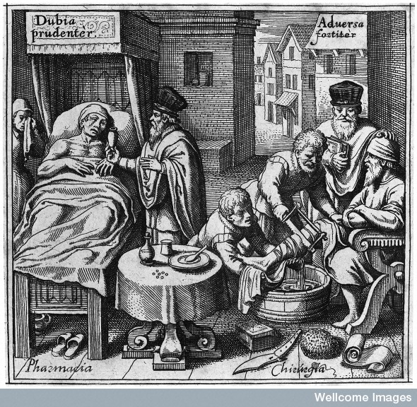 A physician giving a medicine to a sick man in bed, and a surgeon, supervised by a physician, amputating the leg of seated patient, representing pharmacy and surgery respectively. Engraving, 1646. Engraving 1646 By: Matthaeus MerianDe efficaci medicina Marco Aurelio Severino Published: 1646.  Image Credit: Wellcome Images
