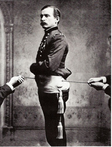 Major General Henry Barnum with the rope passing through the wound in his pelvis. Image Credit: David Foster on Flickr