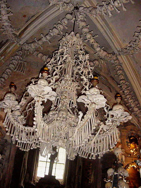 An almost complete list of human bone chandeliers strange remains a chandelier of sedlec ossuary czech republic made of skulls and bones image aloadofball