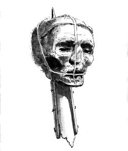 A drawing of Oliver Cromwell's head on a spike from the late 18th century. From a copy of Pennant's London. Image Credit: Wikipedia