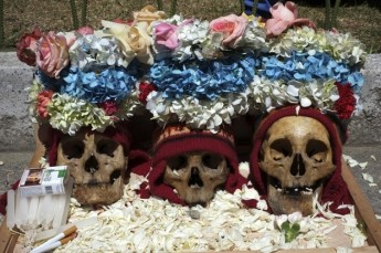 Skulls decorated for Dia de los Natitas, or Day of the Skulls.  Image credit: International Business Times