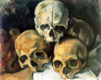 Paul Cézanne. Pyramid of Skulls, oil on canvas, c. 1901, 37 cm × 45.5 cm Image Credit: Wikipedia