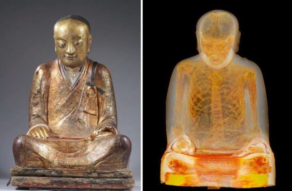 Photo of the Buddhist statue on the right and the CT scan on the left.  Image Credit M. Elsevier Stokmans via Neatorama