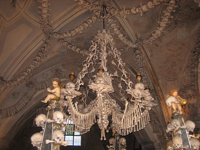 The chandelier made of human bones at Sedlec Ossuary.  Image credit: vagabondvince310 on Flickr