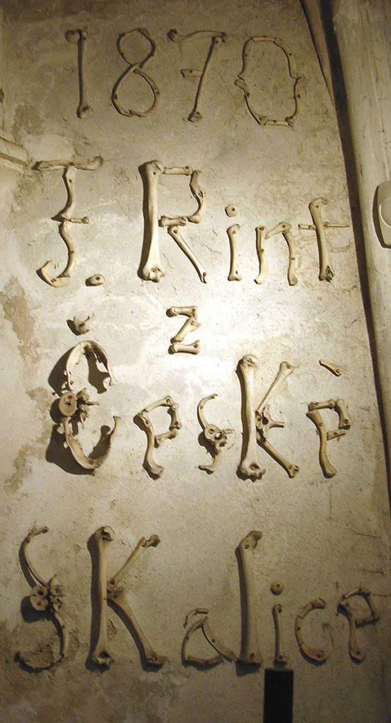 František Rint's signature in human bone at Sedlec Ossuary. Image Credit: Wikipedia.
