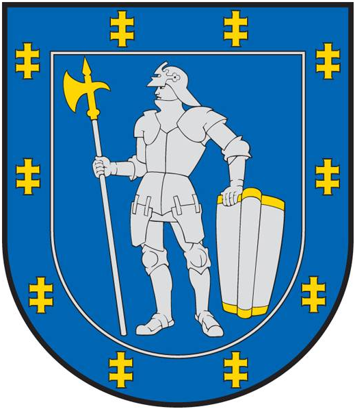 Warrior holding a pollaxe in the coat of arms of Alytus County, Lithuania.  Image credit: Wikipedia.