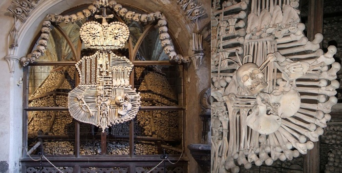 The Schwarzenberg coat of arms recreated with human bones. Images from Wikipedia.