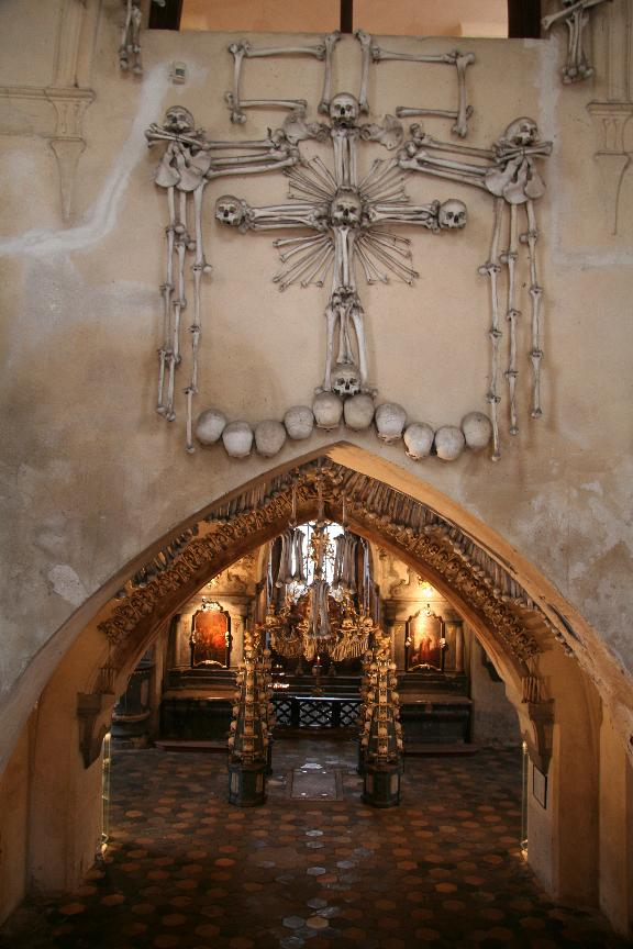 The entrance to Sedlec Ossuary. Image credit: Tyler Nofziger via Wikipedia.