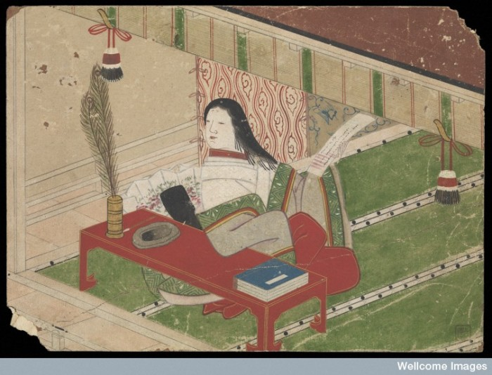 1 of 9, this  first painting depicts a court lady in a kimono is seated indoors with a scroll in her left hand, upon which she has written her farewell poem. Image credit: Wellcome Collections