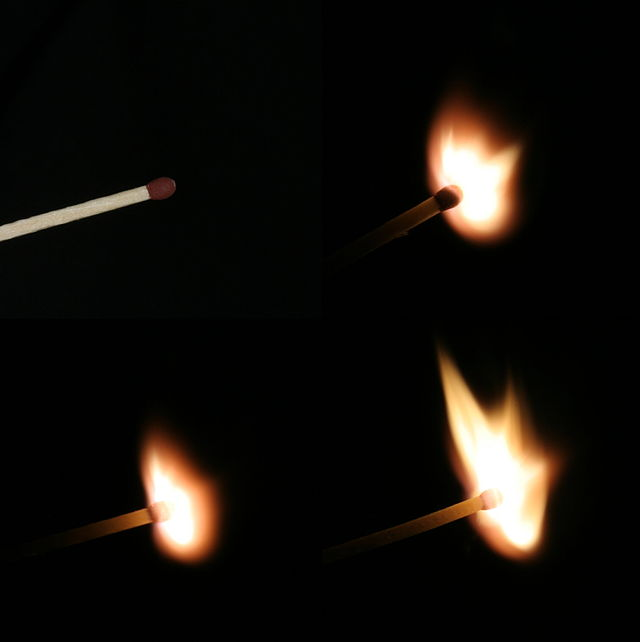 Ignition of a match.  Image credit: MatthiasKabel via Wikipedia.