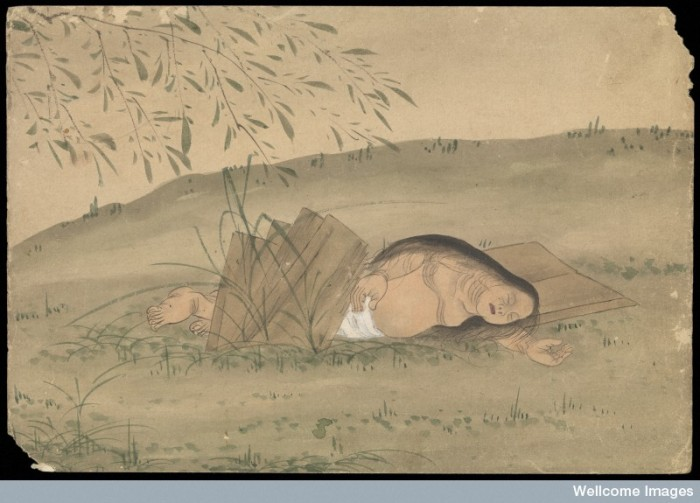 Kusozu: the death of a noble lady and the decay of her body, panel 3 of 9. The woman's body has been laid outside and there are early signed of bloating and discoloration