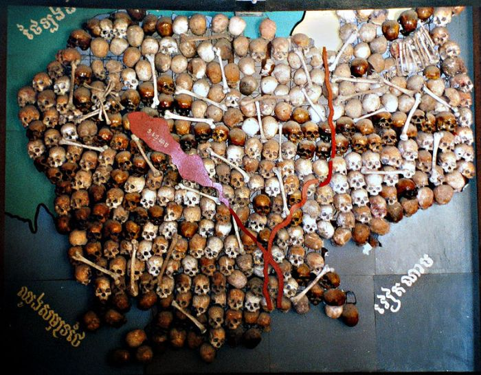 A map of Cambodia made with 300 human skulls, all belonging to victims of genocide.  Image credit: Donovan Govan via Wikipedia