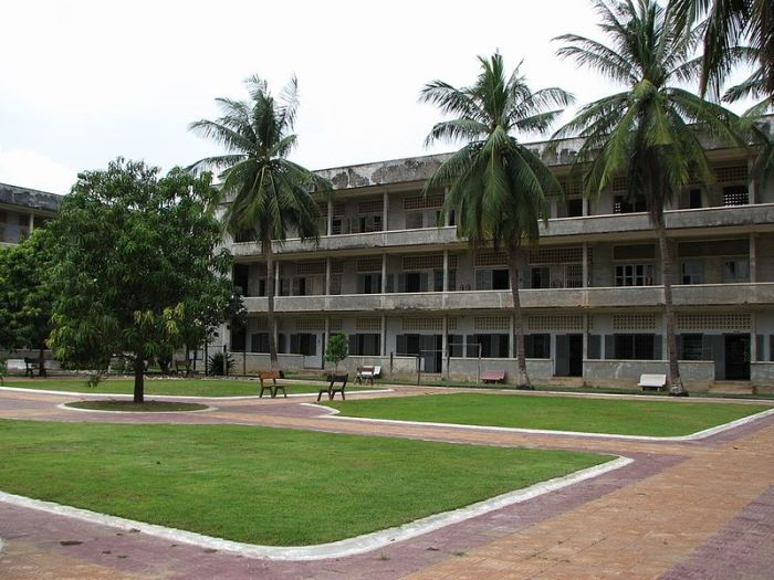 Exterior of the Tuol Sleng Museum of Genocide, formerly a Khmer Rouge-operated prison.  Image credit: Dutch Wikipedia